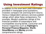 using investment ratings