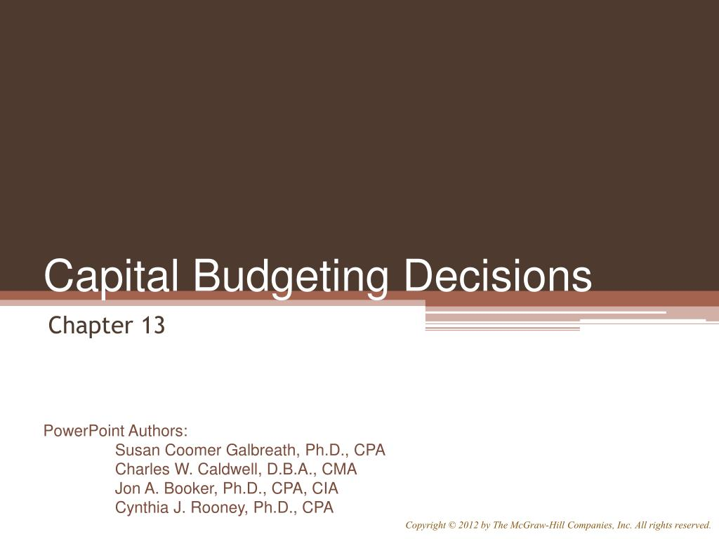 capital budgeting decisions l.