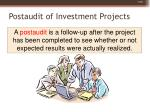 postaudit of investment projects