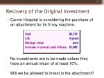 recovery of the original investment13