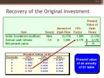 recovery of the original investment14