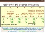 recovery of the original investment15