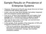sample results on prevalence of enterprise systems