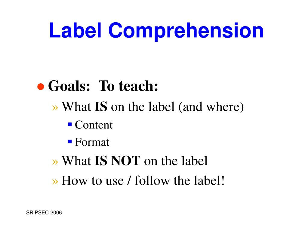 label comprehension l.