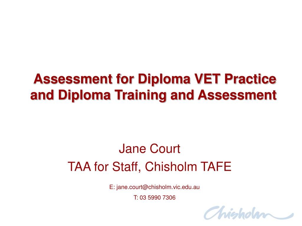 assessment for diploma vet practice and diploma training and assessment l.
