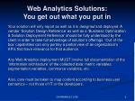web analytics solutions you get out what you put in