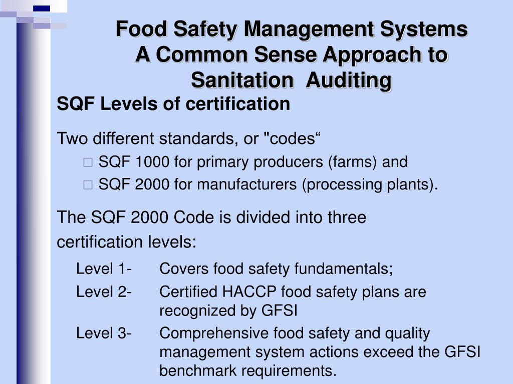 PPT - Food Safety Management Systems A Common Sense Approach
