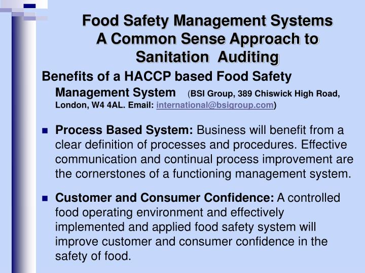 Ppt food safety management systems a common sense - Haccp definition cuisine ...