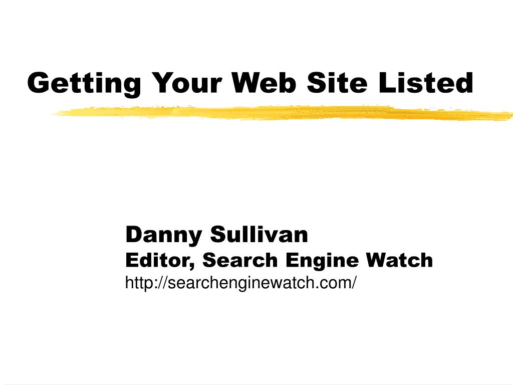getting your web site listed l.