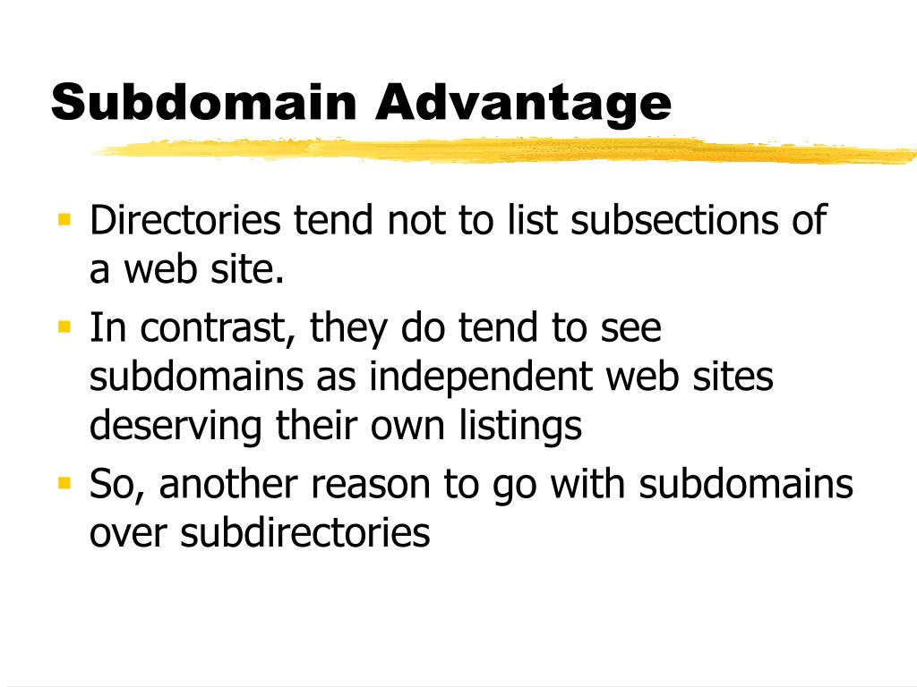 Directories tend not to list subsections of a web site.