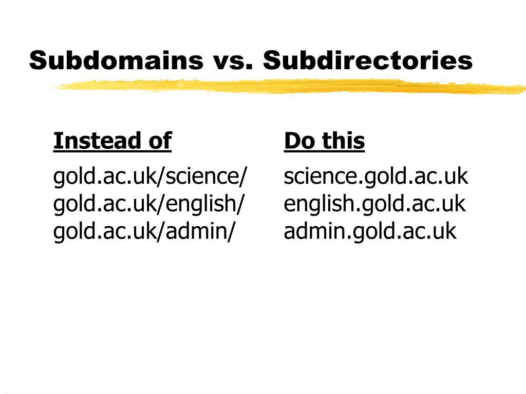 Subdomains vs. Subdirectories