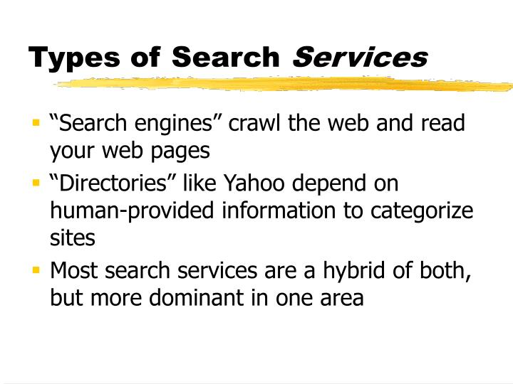Types of search services