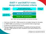 duet 1 1 and duet 2 2 trials design and inclusion criteria