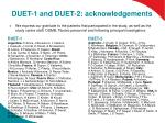 duet 1 and duet 2 acknowledgements