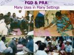fgd pra many uses in many settings