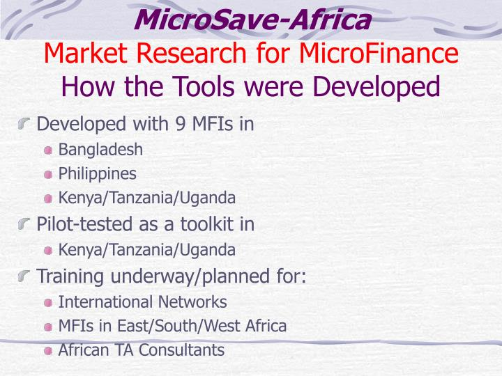 Microsave africa market research for microfinance how the tools were developed