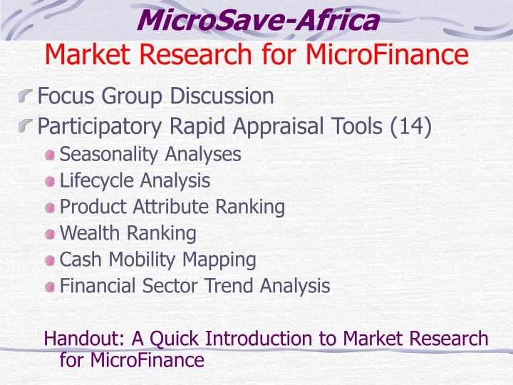 Microsave africa market research for microfinance
