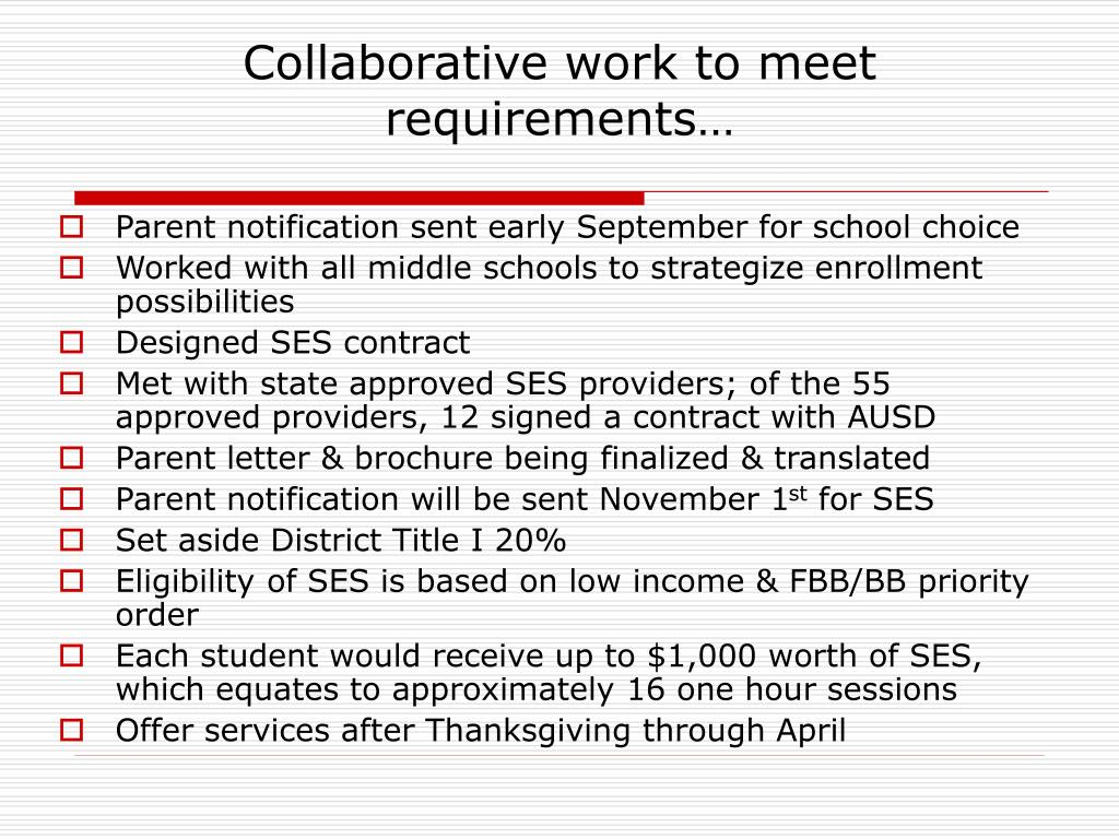 Collaborative work to meet requirements…