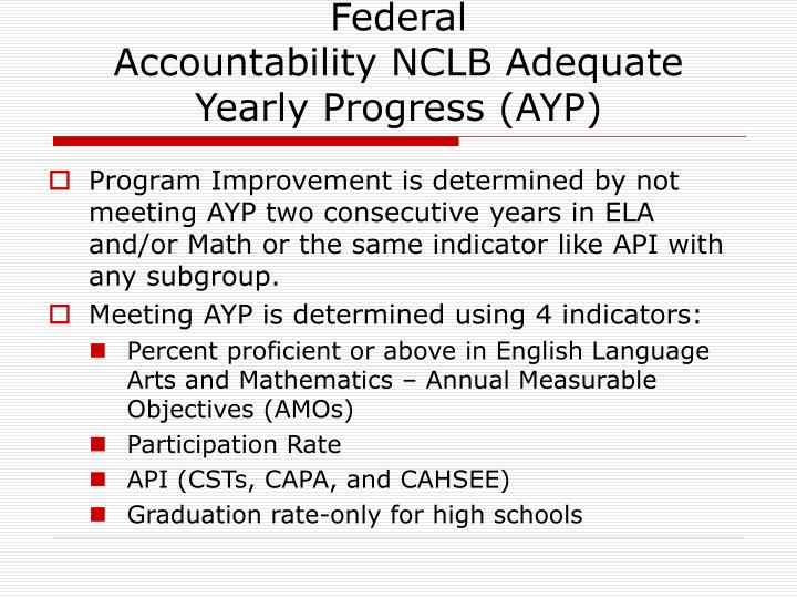 Federal accountability nclb adequate yearly progress ayp