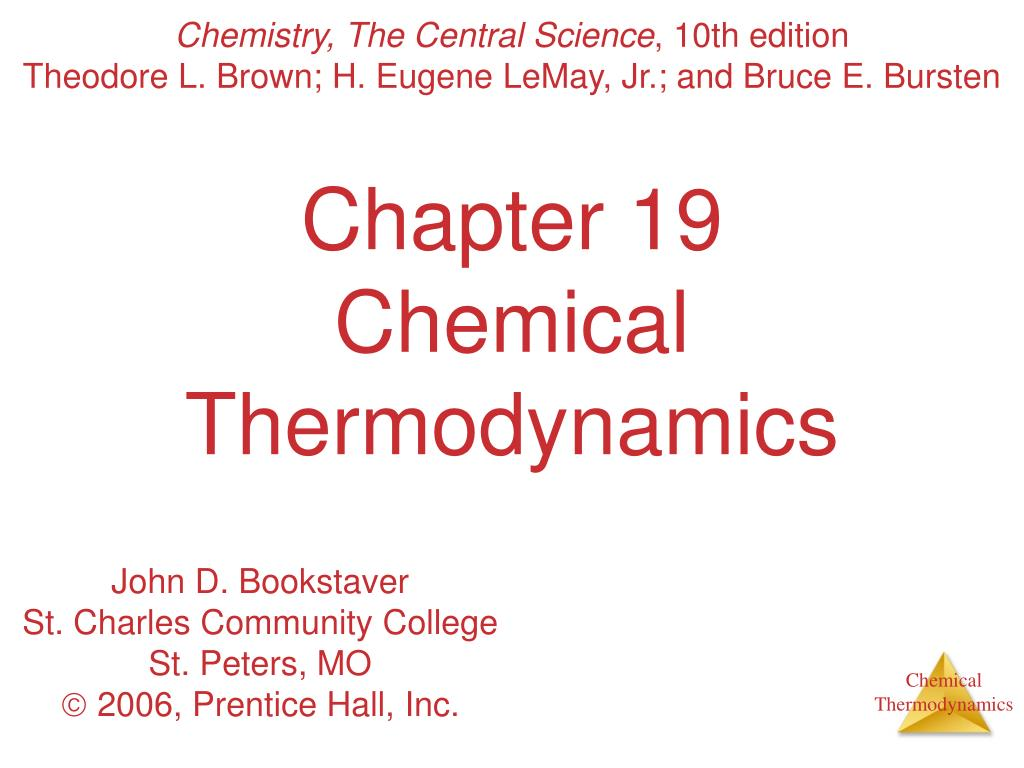chapter 19 chemical thermodynamics l.