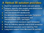 a vertical bi solution provides