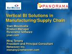 vertical bi solutions in manufacturing supply chain