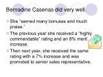 bernadine casenas did very well
