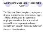 supervisors must take reasonable care