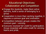 educational objectives collaboration and competition