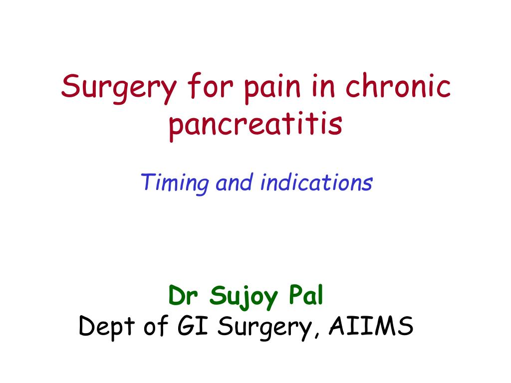surgery for pain in chronic pancreatitis l.