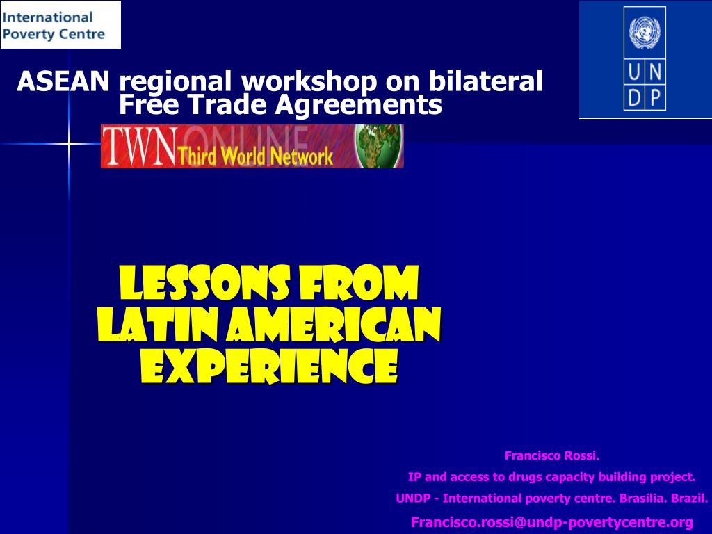 asean regional workshop on bilateral free trade agreements l.