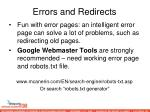 errors and redirects89