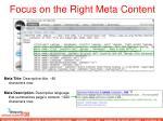 focus on the right meta content