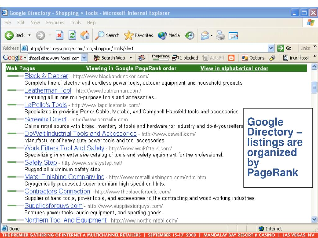Google Directory – listings are organized by PageRank