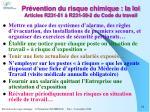 pr vention du risque chimique la loi articles r231 51 r231 59 2 du code du travail16