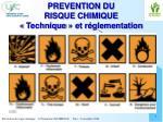 prevention du risque chimique technique et r glementation