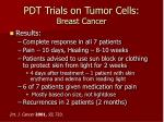 pdt trials on tumor cells breast cancer34