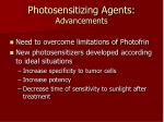 photosensitizing agents advancements