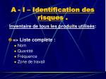 a i identification des risques
