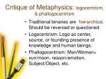 critique of metaphysics logocentrism phallogocentrism