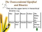 the transcendental signified and binaries22