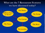 what are the 7 restaurant features we have discussed today