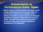 antioksidanlar ve fermantasyon stabil tipleri