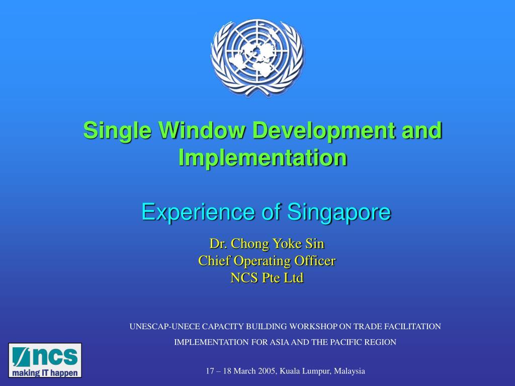 Single Window Development and Implementation