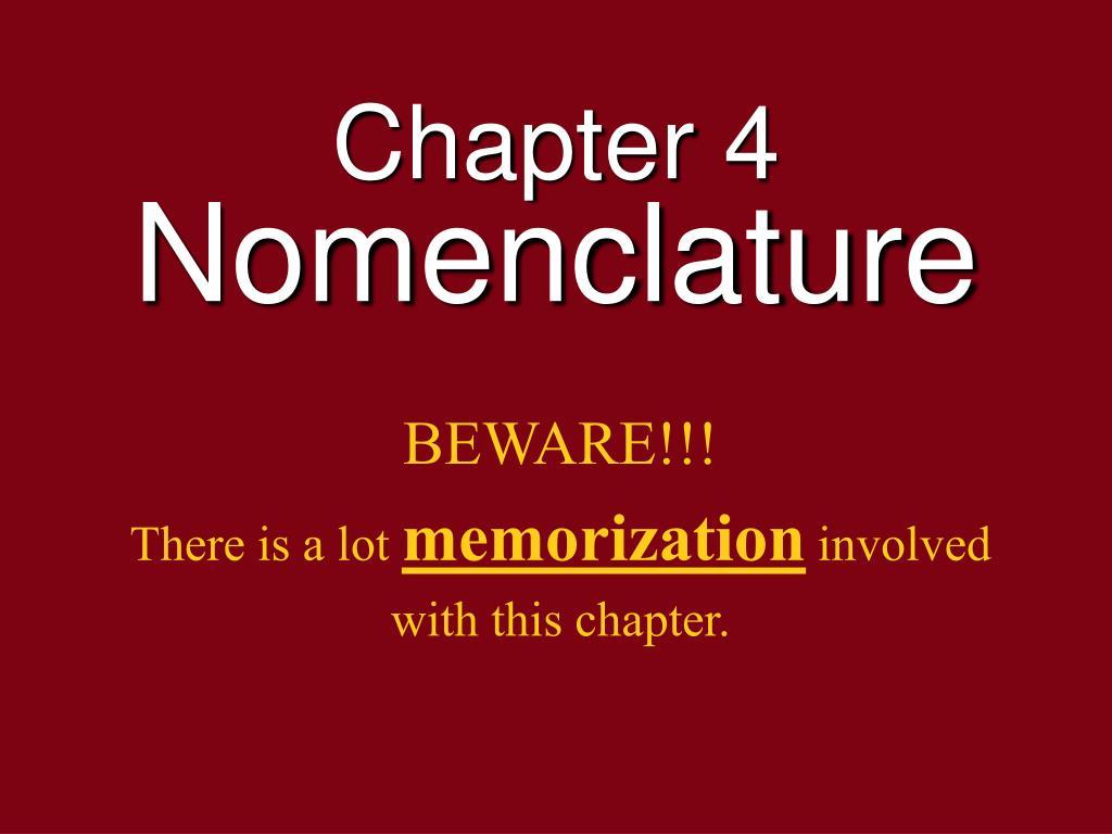 chapter 4 nomenclature l.
