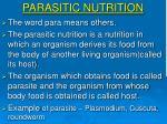 parasitic nutrition