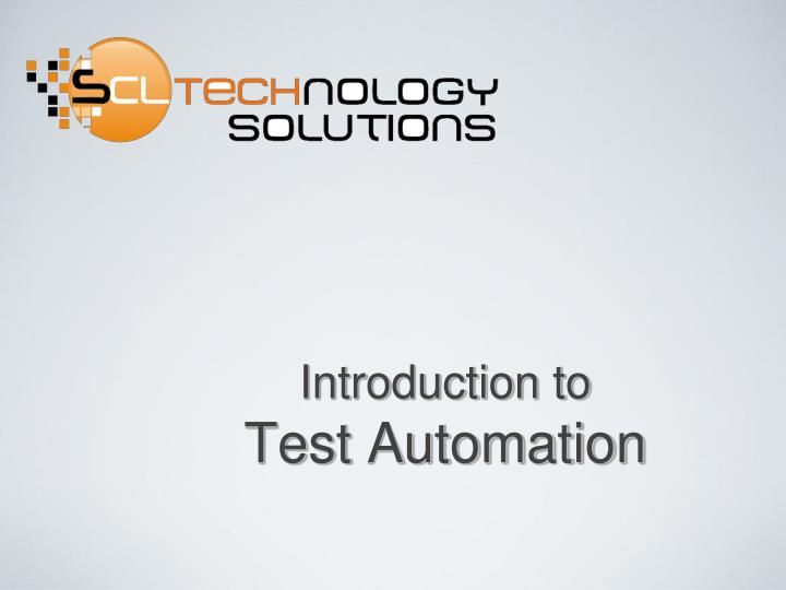 introduction to test automation n.