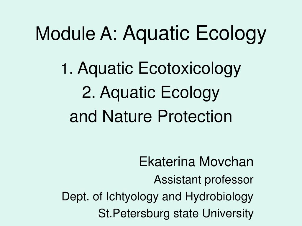 module a aquatic ecology l.