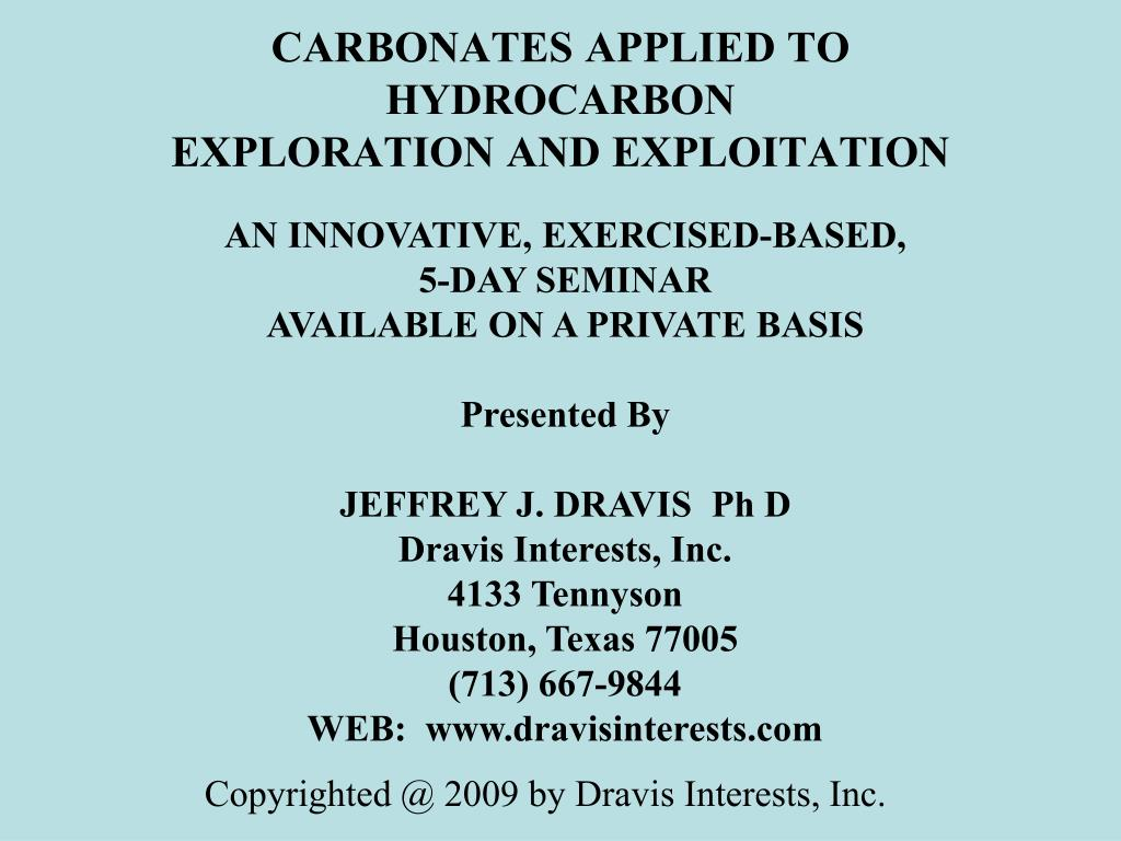 carbonates applied to hydrocarbon exploration and exploitation l.
