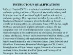 instructor s qualifications